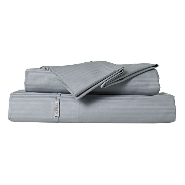 ELYSIAN 500 THREAD COUNT COTTON DOBBY STRIPE SHEET SET QUEEN BED