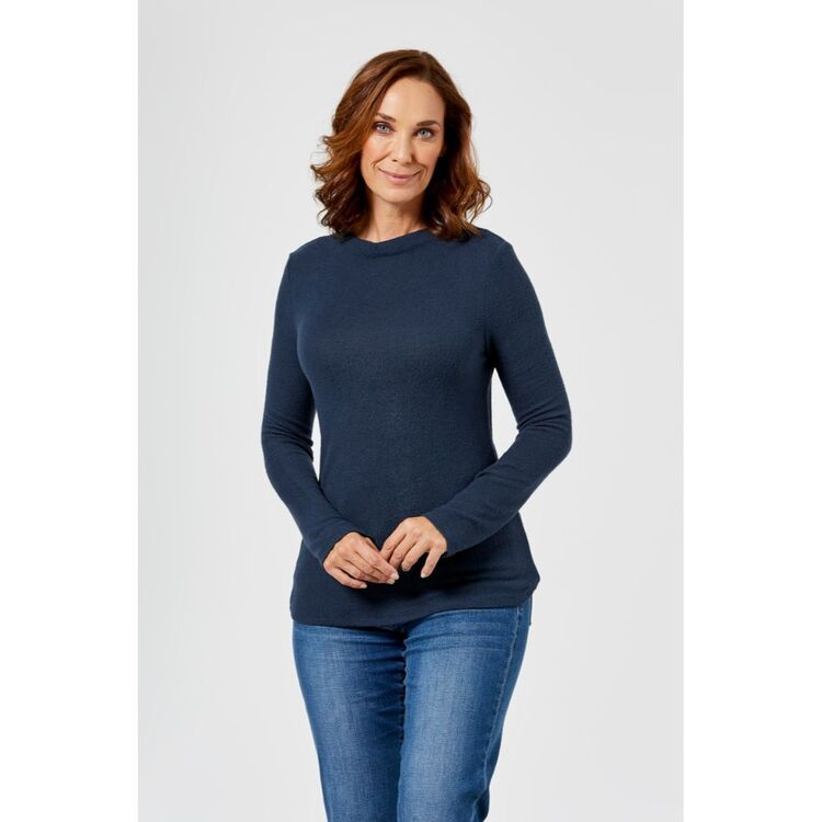KHOKO COLLECTION FUNNEL NECK BRUSHED COSY TOP
