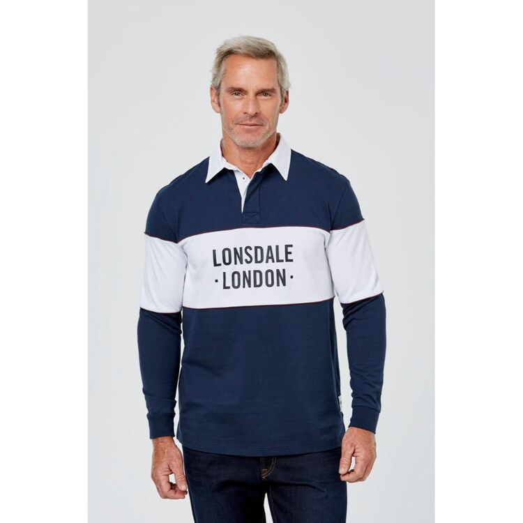 LONSDALE LONG SLEEVE RUGBY WITH CHEST PANEL PRINT