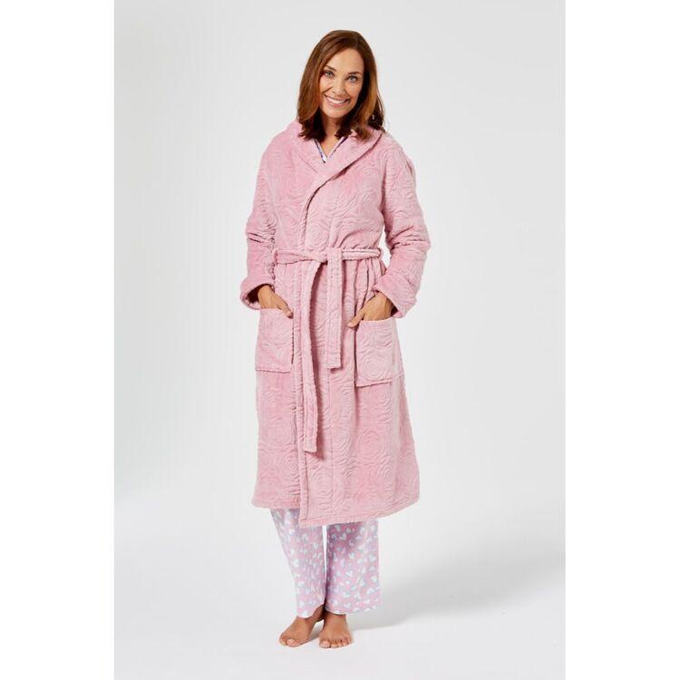 SASH & ROSE Rose Texture Fleece Gown