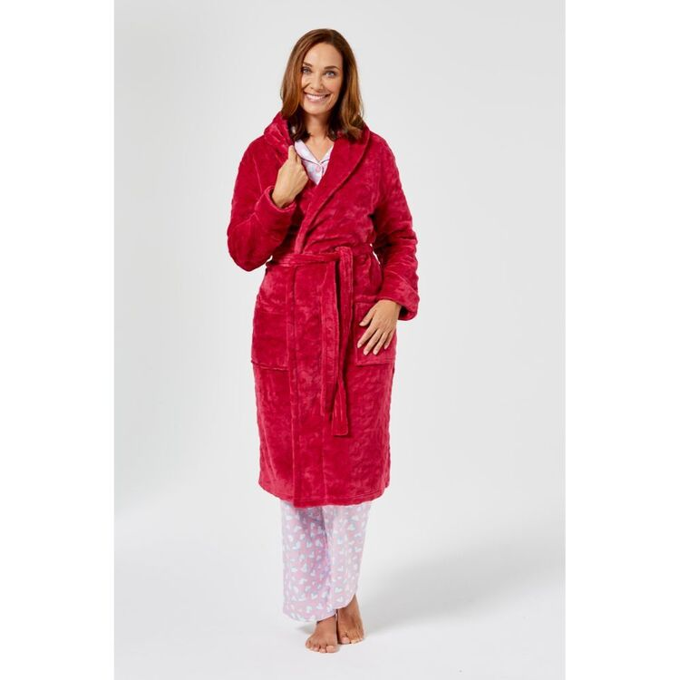SASH & ROSE Leopard Texture Fleece Gown