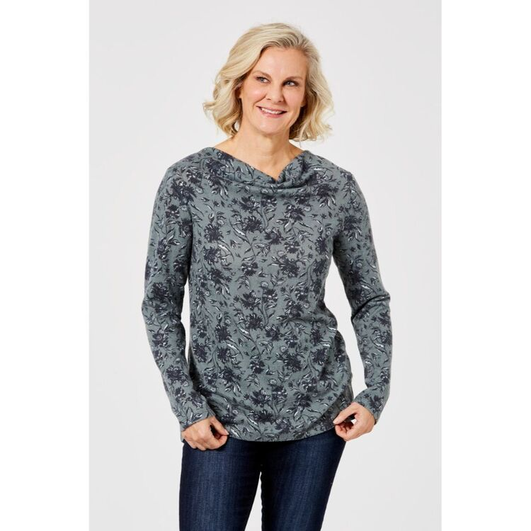 SAVANNAH PRINTED COSY TOP WITH COWL NECK
