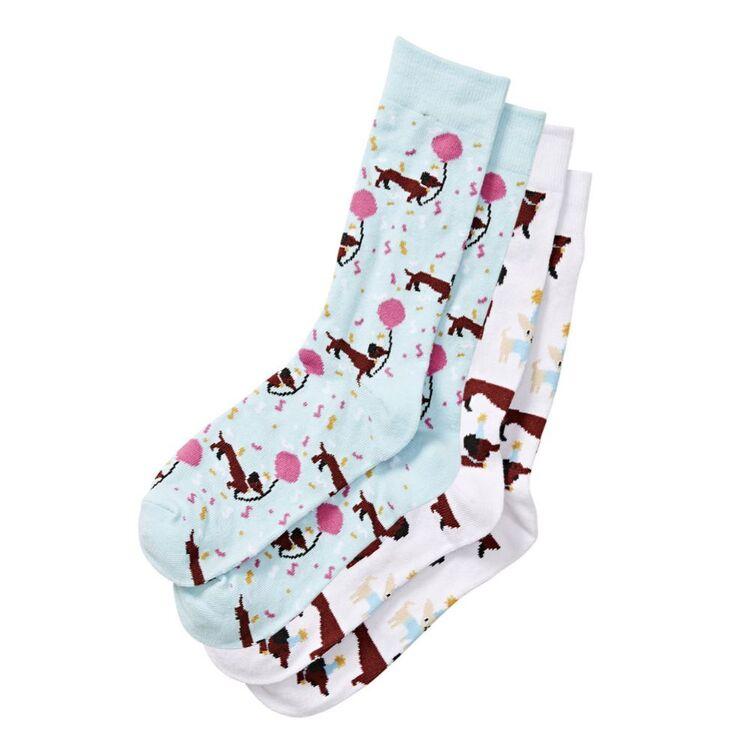 SASH & ROSE 2 Pack Novelty Crew Sock