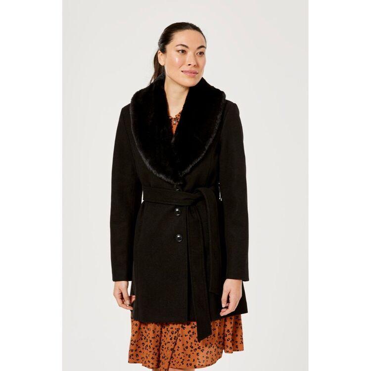 LEONA EDMISTON RUBY Shawl Collar Wrap Coat