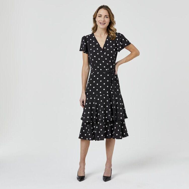 JANE LAMERTON Wrap Dress Flutter Sleeve