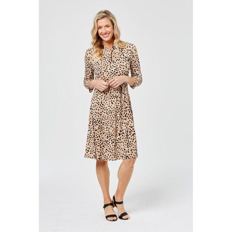 KHOKO SMART Twist Neck 3/4 Sleeve Dress