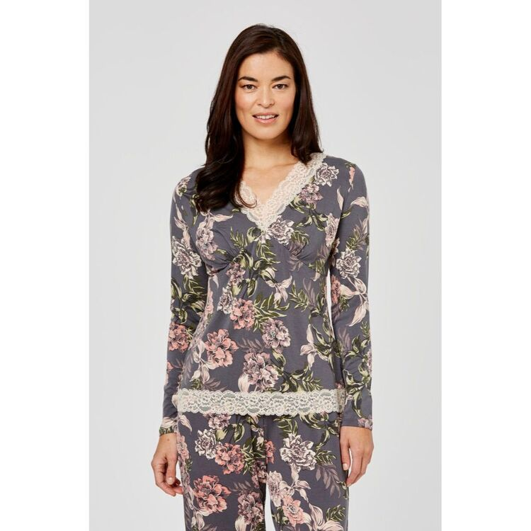 JANE LAMERTON Winter Floral Lace Jersey Top