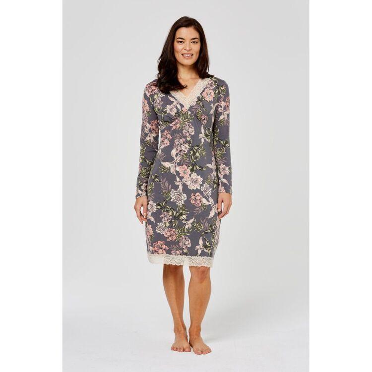 JANE LAMERTON Winter Floral Jersey Lace Nightie