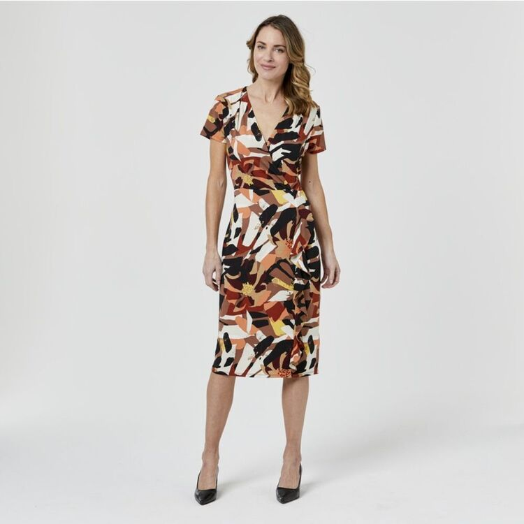 JANE LAMERTON Flutter Sleeve Dress Abstract Floral