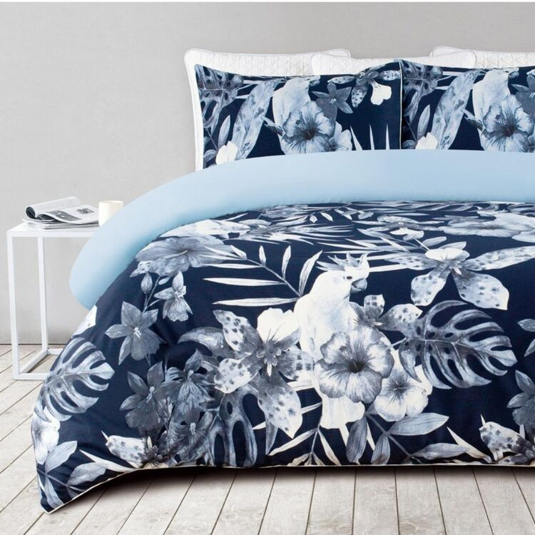 SHAYNNA BLAZE COCKATOO 300 THREAD COUNT COTTON SATEENQUILT COVER SET SUPER KING BED