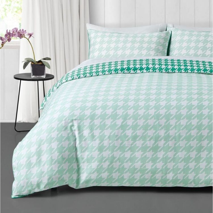 JAYSON BRUNSDON HOMEWARES HOUNDSTOOTH 300 THREAD COUNT COTTON SATEEN QUILT COVER SET KING BED