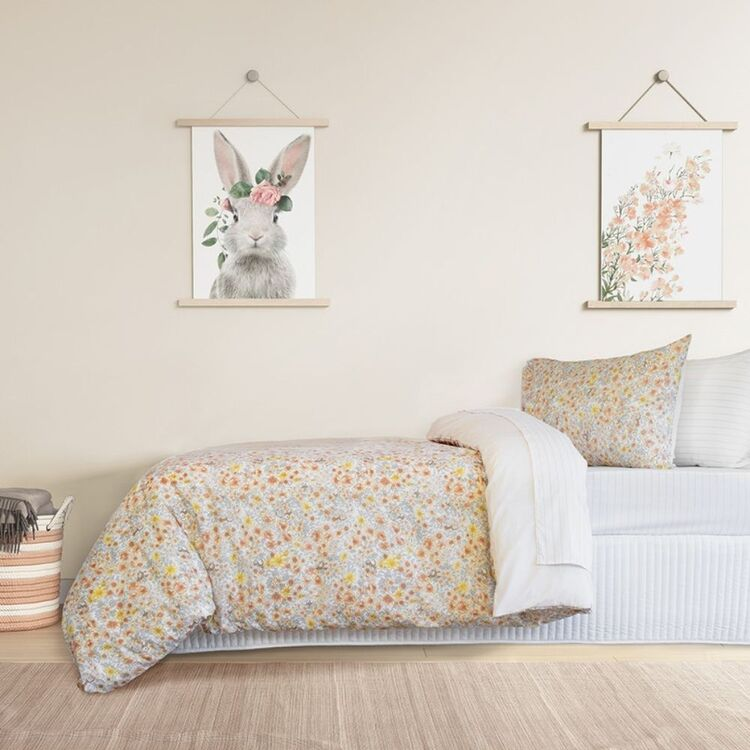 JELLY BEAN KIDS FLORA POLYCOTTON QUILT COVER SET DOUBLEBED