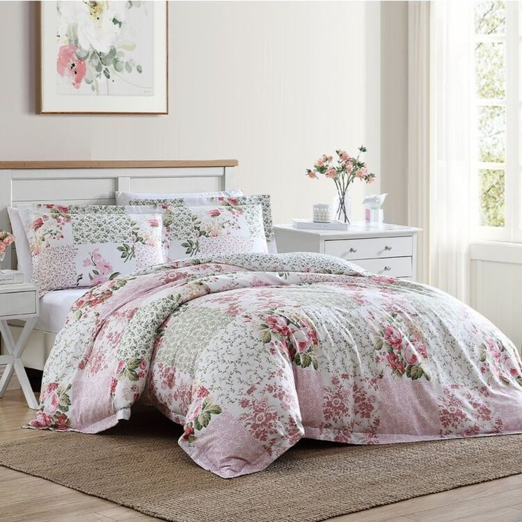 LAURA ASHLEY AILYN 250 THREAD COUNT COTTON QUILT COVER SET QUEEN BED