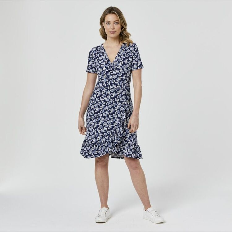 LEONA EDMISTON RUBY Mock Wrap Jersey Frill Dress