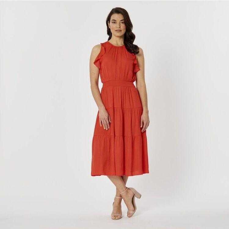 JANE LAMERTON Shirred Flutter Dress