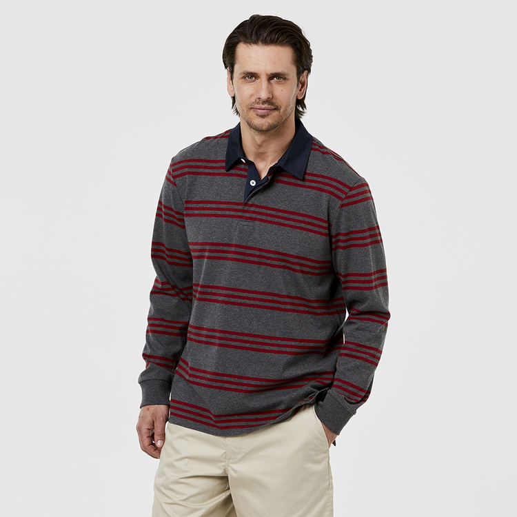 BRONSON CASUAL BRUNY TRIPLE FINE STRIPE RUGBY