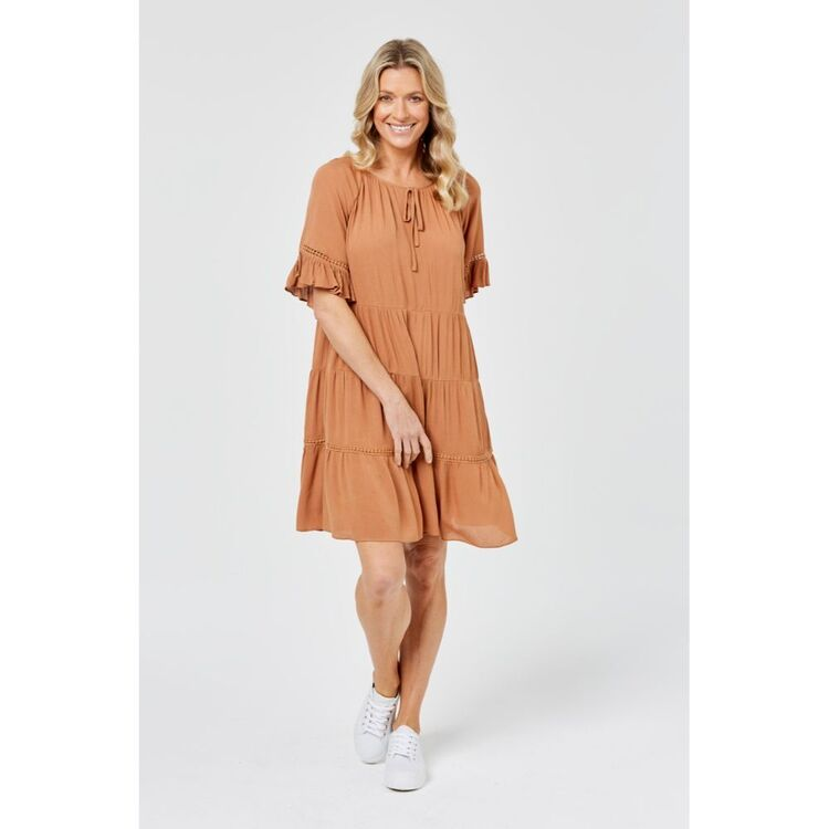 KHOKO COLLECTION FLOUNCE DRESS IN VISCOSE CRINKLE