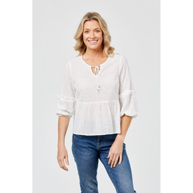 KHOKO COLLECTION FLOUNCE TOP IN BROIDERIE
