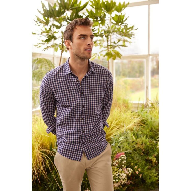 BROOKSFIELD LONG SLEEVE CASUAL BRUSHED CHECK SHIRT