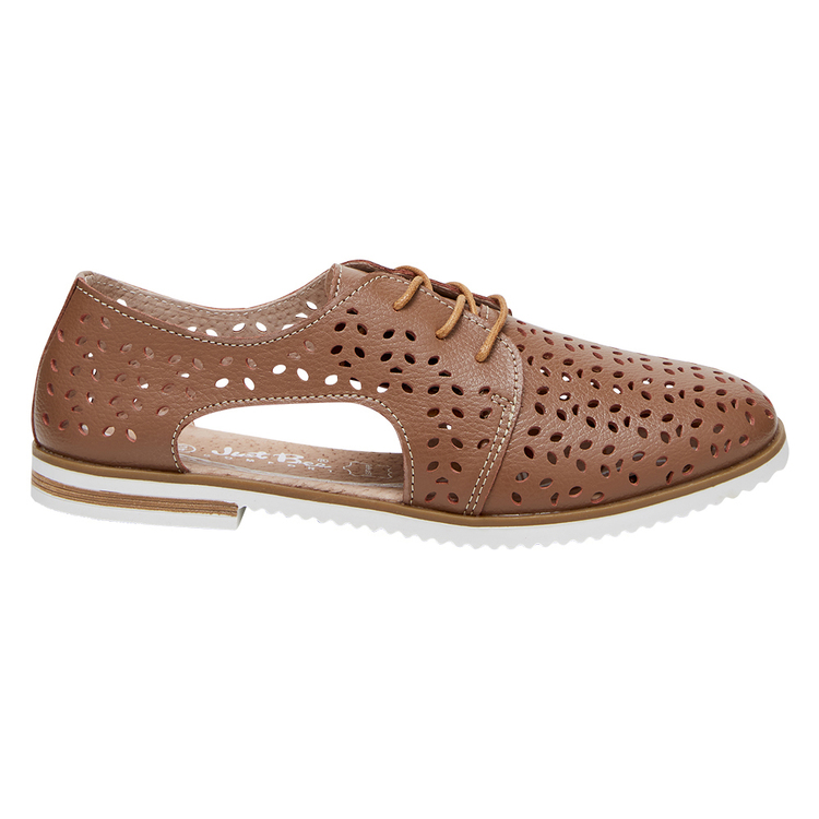 JUST BEE CHICKY WOMENS SIDE CUT PERFORATED LACE UP