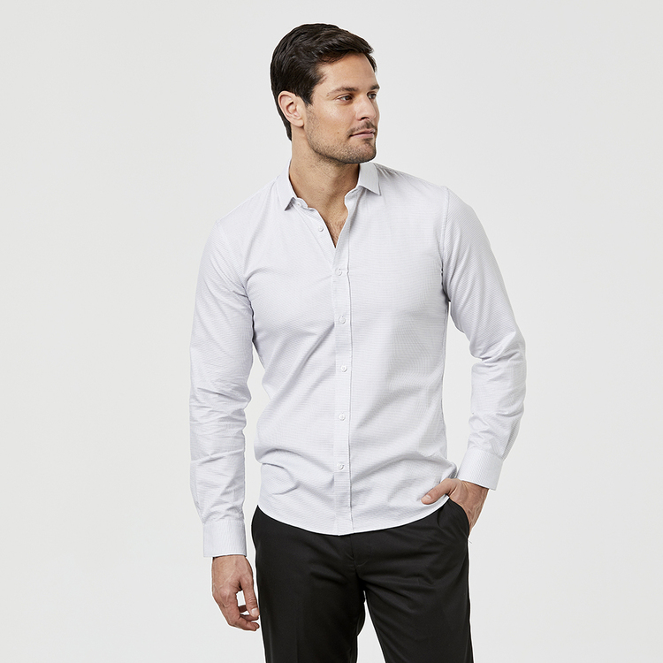 BROOKSFIELD LONG SLEEVE LUXE SLIM FIT MICRO TEXTURED SHIRT