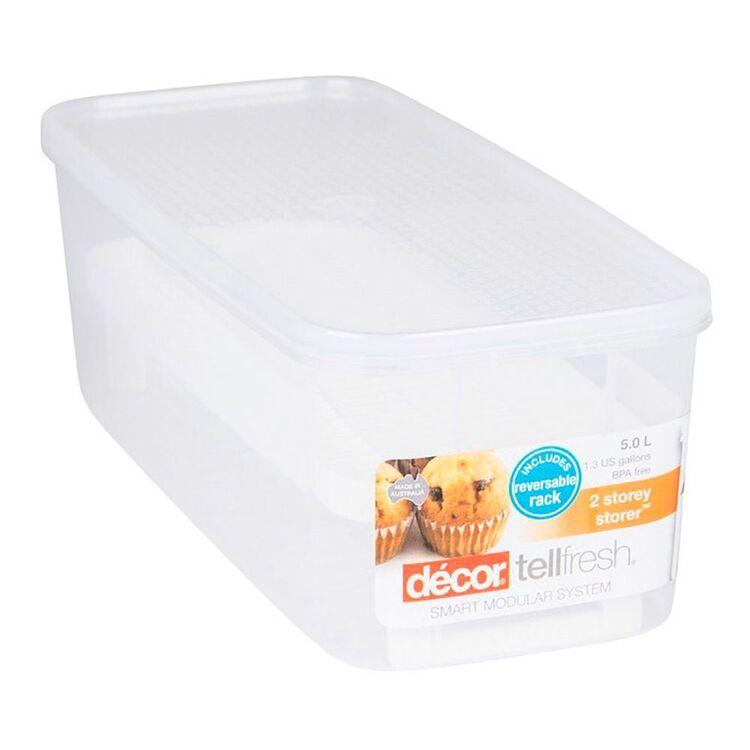 DECOR Tellfresh Plastic Long Oblong Food Storer With Reversable Rack 5L