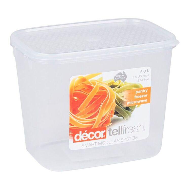 DECOR Tellfresh Plastic Tall Oblong Food Storage Container 2L