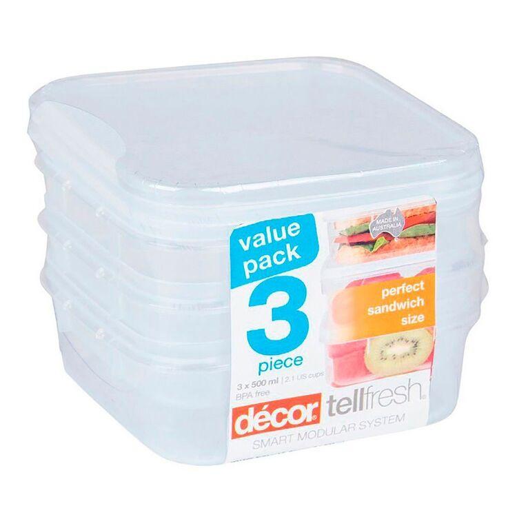 DECOR Tellfresh 3 piece Plastic Square Food Storage Container Set 500ml