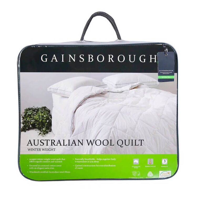 GAINSBOROUGH 500gsm Australian Washable Wool Quilt King Bed