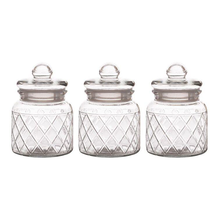 CASA DOMANI  Trellis Storage Jars Set 3 650Ml Gift Boxed