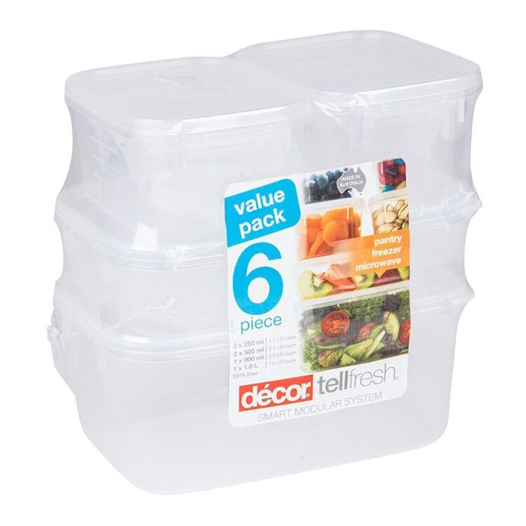 DECOR Tellfresh Plastic 6 Pack Oblong Food Storage Container Set