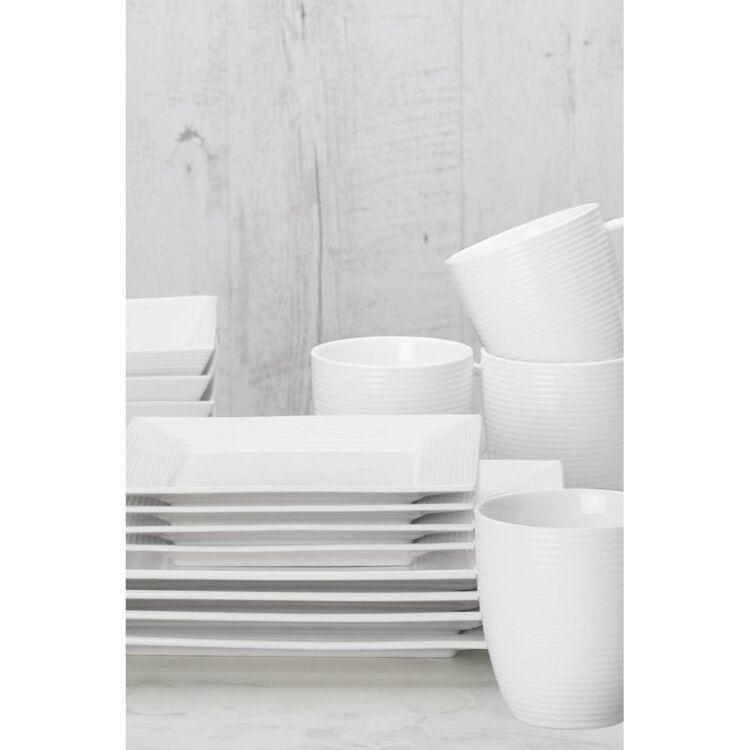 CASA DOMANI Casual White Evolve 16pc Square Dinner Set
