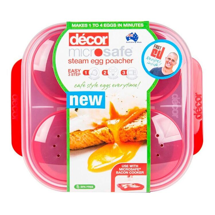 DECOR Microsafe Microwavable Steam Egg Poacher 4 Egg