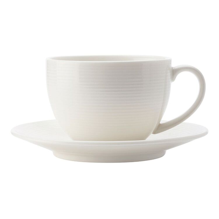 CASA DOMANI Casual White Evolve Coupe Cup and Saucer