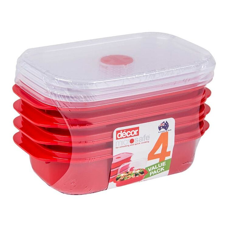 DECOR Microwavable Oblong Food Storage 4pk Containers 900ml