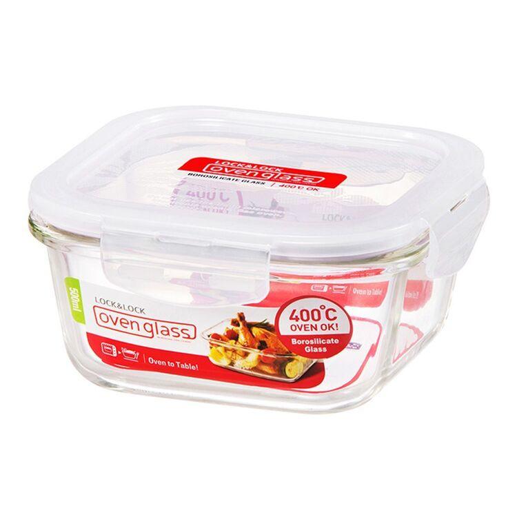LOCK & LOCK Square Glass Food Storage 500ml