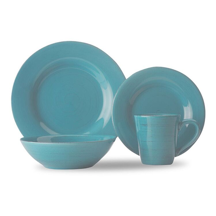 CASA DOMANI Portofino Turquoise 16pc Dinner Set