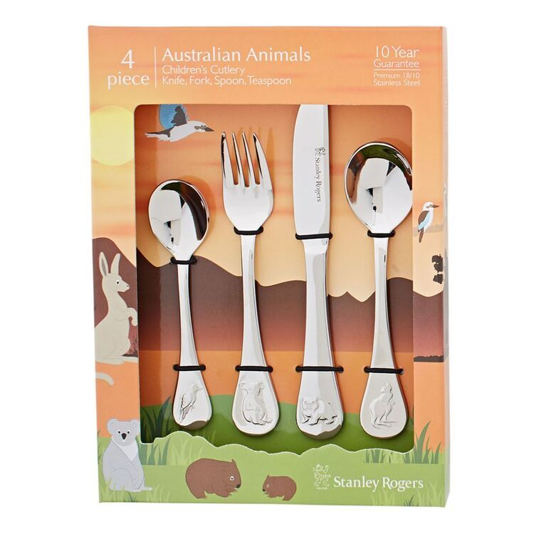 STANLEY ROGERS Australian Animals 18/10 4pc Kids Cutlery Set