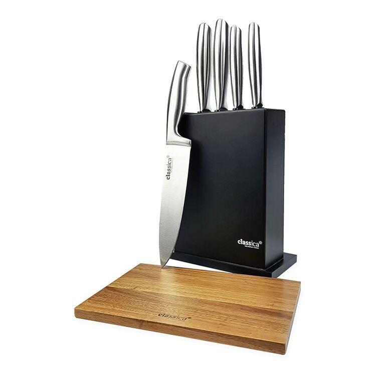 CLASSICA 6pc Black Knife Block Set With Acacia Chopping Board