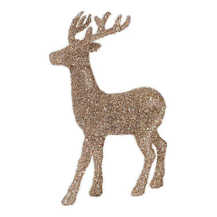 SOREN Glitter Standing Reindeer 45cm Champagne Gold