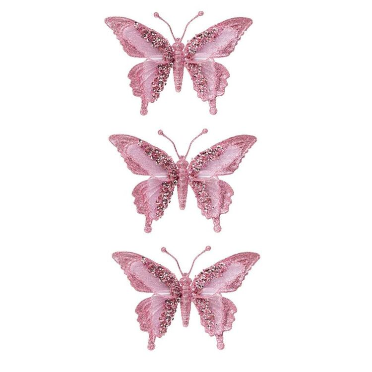SOREN 3pc Butterfly Clip on Ornament Pink