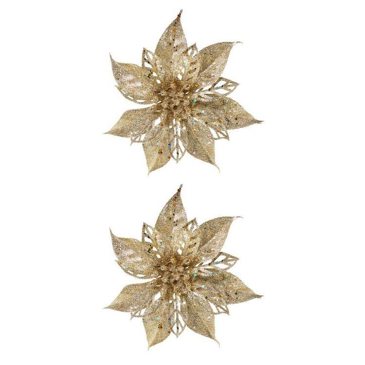SOREN 2pc Glitter Poinsettia Clip On OrnamentChampagne