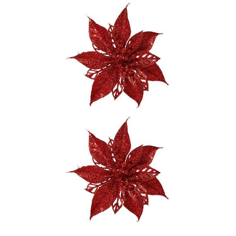 SOREN 2pc Glitter Poinsettia Clip On OrnamentRed
