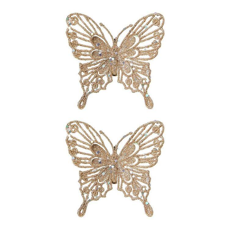 SOREN 2pc Glitter Butterfly Ornament Champagne