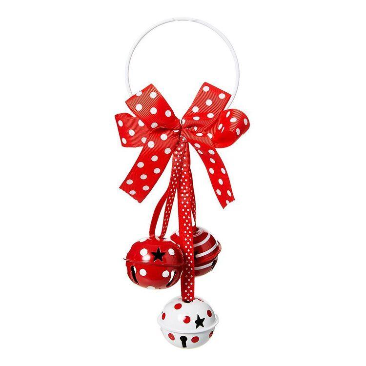 SOREN Jingle Bell Door Hanger 23cm Red