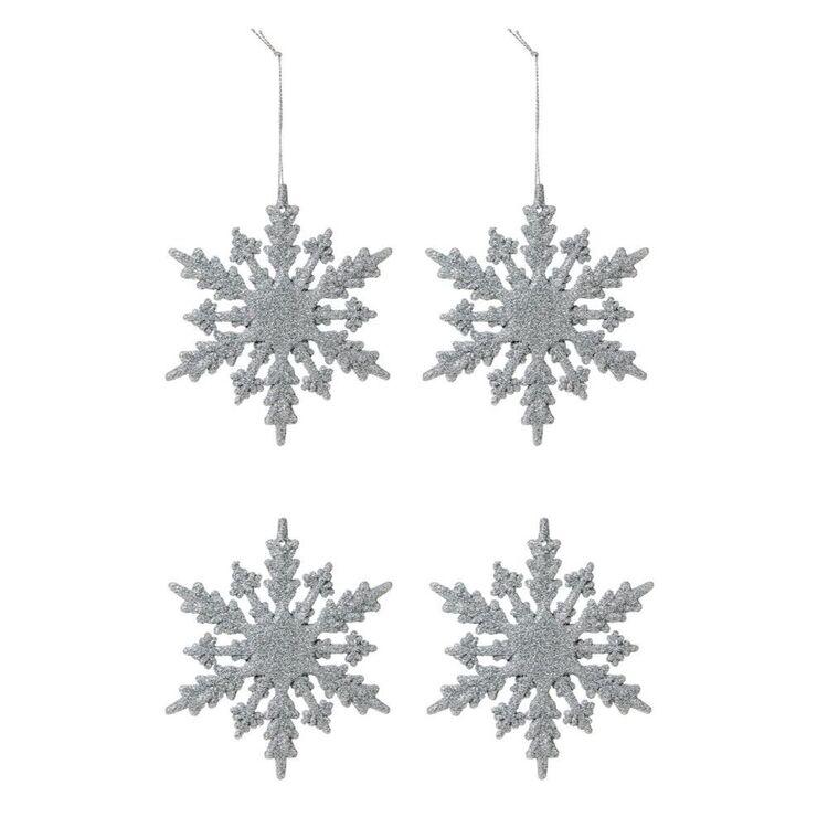 SOREN 4Pc Snowflake Ornament Silver