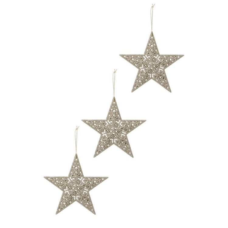 SOREN 3pc Glitter Star Ornament Champagne