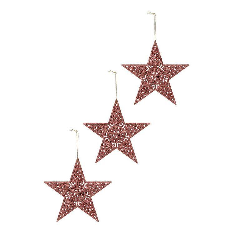 SOREN 3pc Glitter Star Ornament Pink