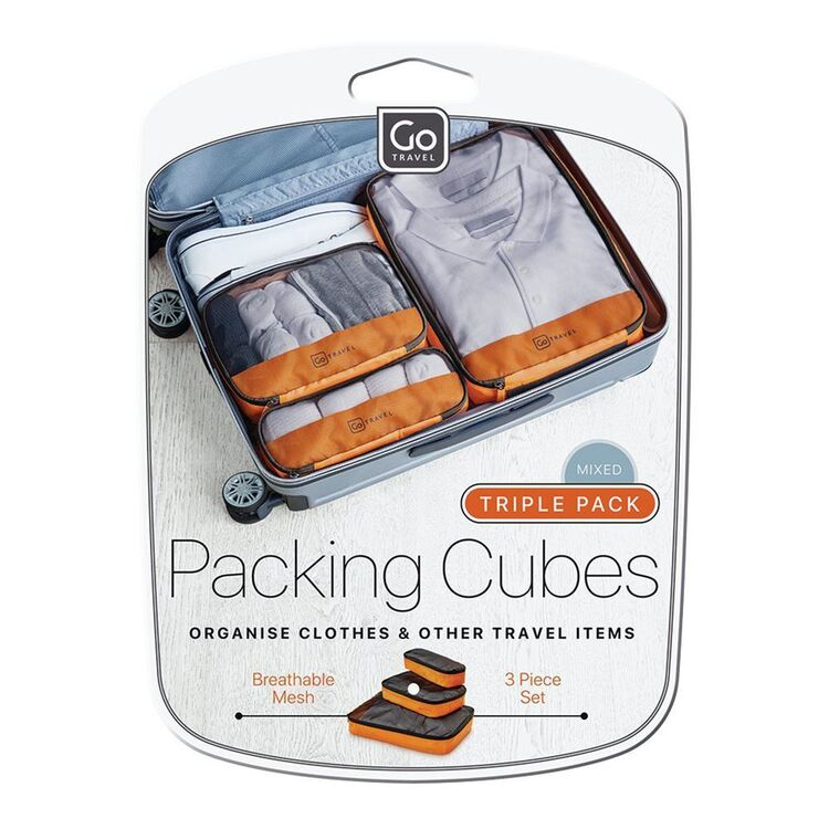 GO TRAVEL 3 PIECE MULTI SIZE LUGGAGE PACKING CUBES