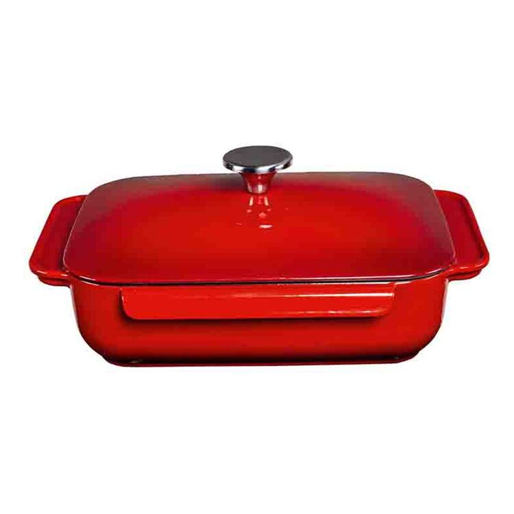 SMITH & NOBEL CAST IRON ROASTER WITH LID RED